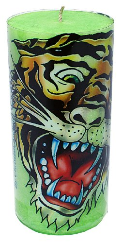 Ed Hardy Candle 3 by 6  Scented Mottled Pillars, Tiger