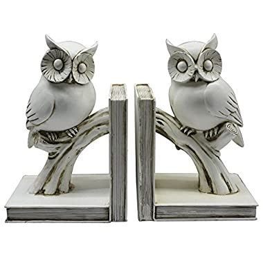 Classic Owl White Finish Bookend