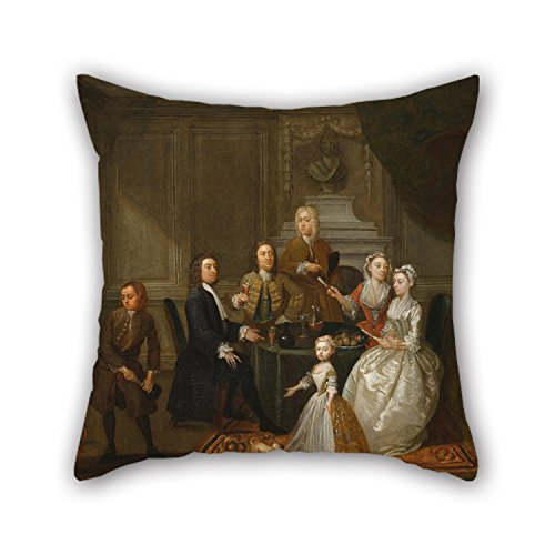 20 X 20 Inches / 50 By 50 Cm Oil Painting Gawen Hamilton - Group Portrait, Probably Of The Raikes Family Pillowcover ,2 Sides Ornament And Gift To Kitchen,play Room,gf,outdoor,couples,car (Diy Group Halloween Costume Ideas)