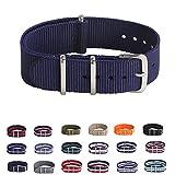 Premium Canvas Fabric Watch Bands Ballistic Nylon Straps Width,Navy Blue,20mm