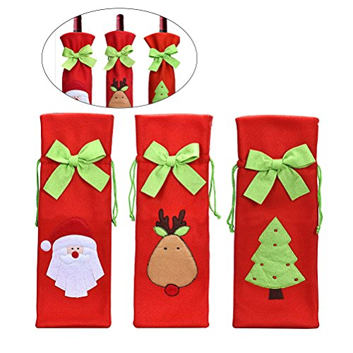 TINKSKY 3pcs Cute Christmas Santa Claus Reindeer Christmas Tree Pattern Drawstring Wine Bottle Cover Bags Home Party Dinner Table Decor Candy Gift Bag Wrap (Sweater Light Christmas Up Diy)