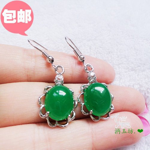 usongs Silver inlay natural granular cargo oil green jade earrings emerald earrings earrings earrings exquisite luxury shipping