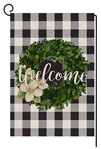 BLKWHT 142849 Welcome Buffalo Boxwood Wreath Fall Small Garden Flag Vertical Double Sided 12.5 x 18 Inch Farmhouse Autumn Burlap Yard Outdoor Decor