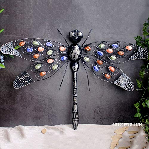 zenggp Decoration Wall Hangings Garden Decoration American Pastoral Style Wrought Iron Dragonfly