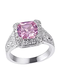 Newshe Jewellery 3.4Ct Created Pink Sapphire Topaz White Gold Plated Gemstone Ring Size 6-9