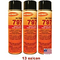 QTY3 Polymat 797 Hi-Temp Professional Automotive Spray Glue 20oz W/13oz NET/can