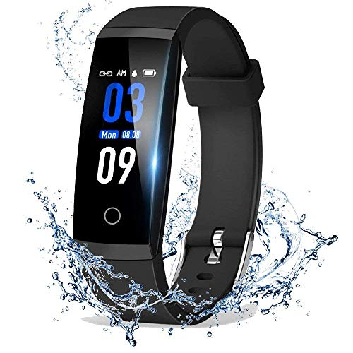 acker, Color Screen Activity Health Tracker with Heart Rate Blood Pressure Monitor, Waterproof Smart Pedometer Watch Band with Step Calories Counter for Kids Woman Man, Black ()