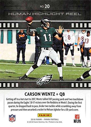 96c55e0a6f7 Amazon.com  2018 Panini Football Human Highlight Reel  20 Carson Wentz  Philadelphia Eagles NFL Trading Card  Collectibles   Fine Art