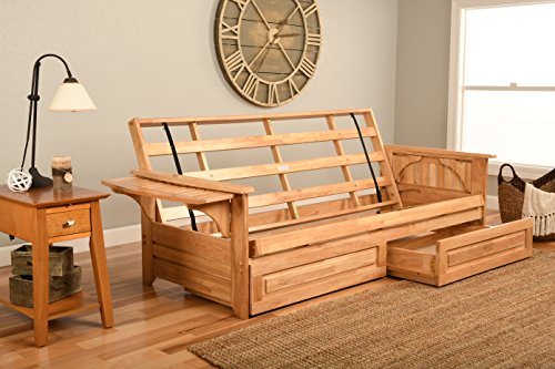 Phoenix Futon in Natural Finish with Storage Drawer