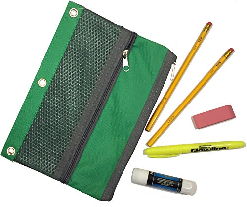 School Essentials Bundle Including Two #2 Pencils, Gum Eraser, Yellow Highlighter, Glue Stick, and Two-Pocket Organizer with Universal 3-Ring Portfolio Metal Eyelet Grommets (Green) Back to