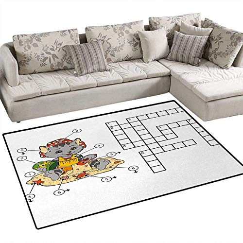 Word Search Puzzle,Carpet,Crossword Game for Children Cute Cat on Beach and Building Sand Castles,Rug Kid Carpet,Multicolor,36