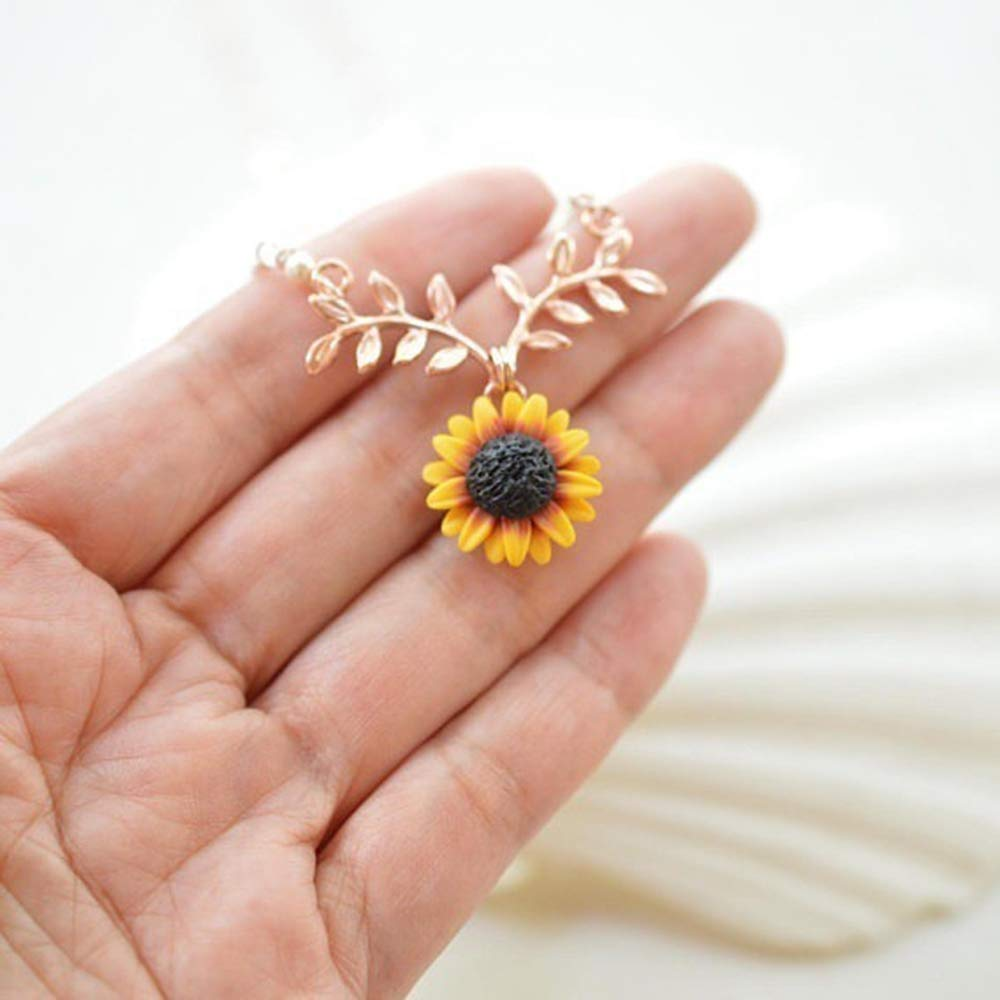 4ae55eacadf49 Amazon.com: New Pendant Clavicle Necklace Cute Sunflower Leaf Branch ...