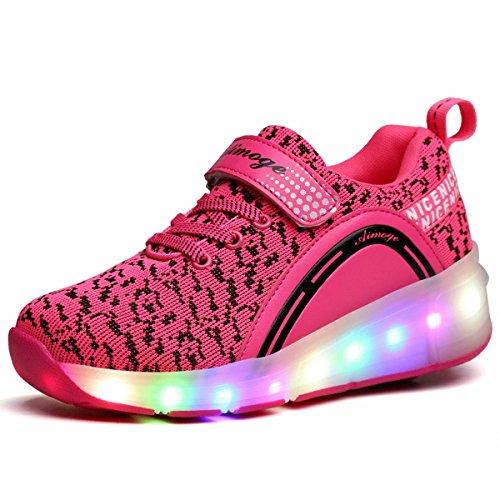 Las niñas niños LED rueda Roller Zapatos Retractable Roller Skate Zapatos Niños Zapatillas (31 M EU, Pink-One wheel)