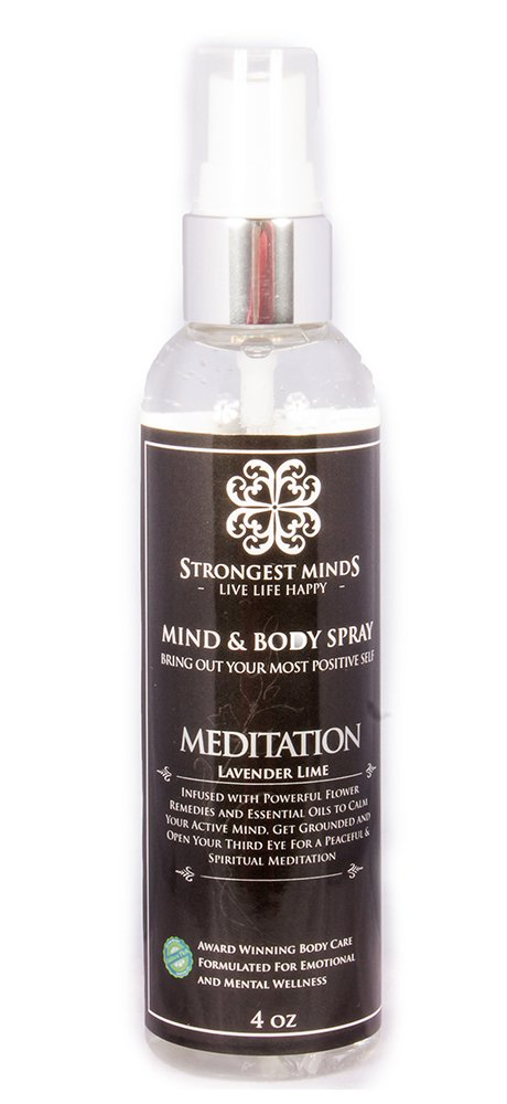 ''Meditation'' MIND & BODY Mist for Men and Women Combines Powerful Flower Remedies with Essential Oils to Calm an Overactive Mind Lavender Lime Essential Oils Natural Therapy 4 Fl Oz by Strongest Minds
