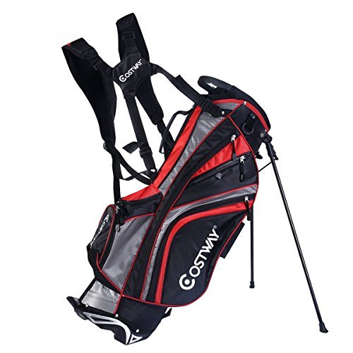 Hyper-Lite-Golf-Stand-Bag-wShoulder-Strap-Rain-Cover-Black-Red-6-Way-Divider