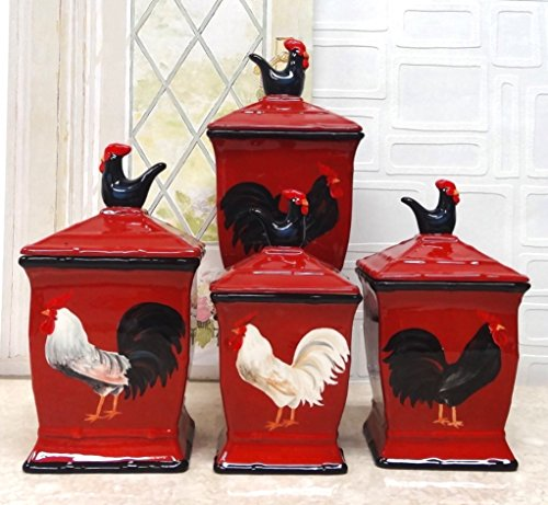 Tuscany Roamer Rooster Hand Painted 4pcs Red Canister Set, 86701 by ACK