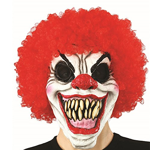 XIAO MO GU Latex Halloween Party Cosplay Face Mask Adult Scary Clown Costumes Mask with Hairs -