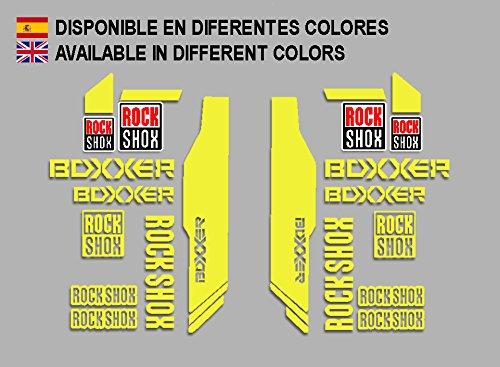 Ecoshirt GK-82G9-0ST2 Pegatinas Rock Shox Boxxer F174 Vinilo Adesivi Decal Aufkleber Клей MTB Stickers Bike, Amarillo
