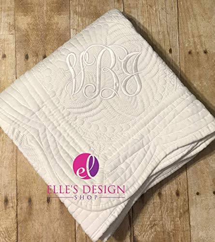 White Gender Neutral Embroidered Name Quilt Baby Shower Gift Custom Monogrammed Blanket (Holidays Quilt Fabric Cotton)