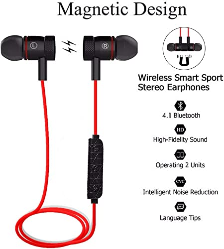Bluetooth Earphones,Earbuds Magnetic Wireless Headset Sweat-Proof Earbuds HIFI Balanced Stereo Audio In-Ear Headphone for Sports Workout Magnet-Adsorption, Noise-Canceling connect with 2 device Red