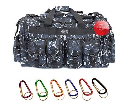 Nexpak USA 5100 Cu in TFBP130DMBK 30 Inch Navy Digital Camo Convertible 2 in 1 Backpack Duffel Duffle Molle Tactical Shoulder Strap Bag + Key Ring Carabiner
