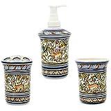 Madeira House Coimbra Ceramics Hand-Painted Bathroom Accessory Set Toothbrush Holder, Tumbler & Soap Dispenser #3