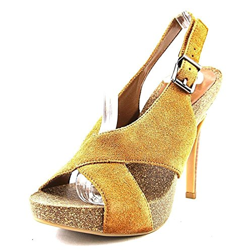 BCBGeneration Womens Greer Suede Open Toe Special Occasion, Camel, Size 6.0
