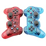 TPFOON Pack of 2 Wireless Controller Double Vibration Gamepad For PS2 Playstation 2 (Clear Red And Clear Blue)