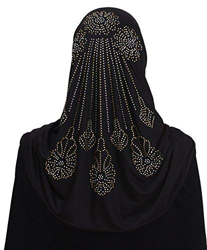 Al Amira 1 piece Aiyah Hijab Ultra Silky Lycra in Falling Stars Design (Black7)