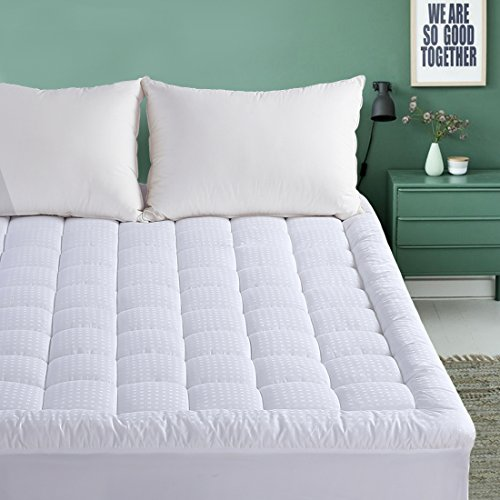 - EMONIA Queen Mattress Pad - Pillow Top Fitted Mattress Pad Cover (Deep Pocket 8