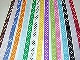 "Polka Dot Grosgrain Ribbon -15 Colors 3/8"" X 2 Yard Each Total 30 Yds Per Package"