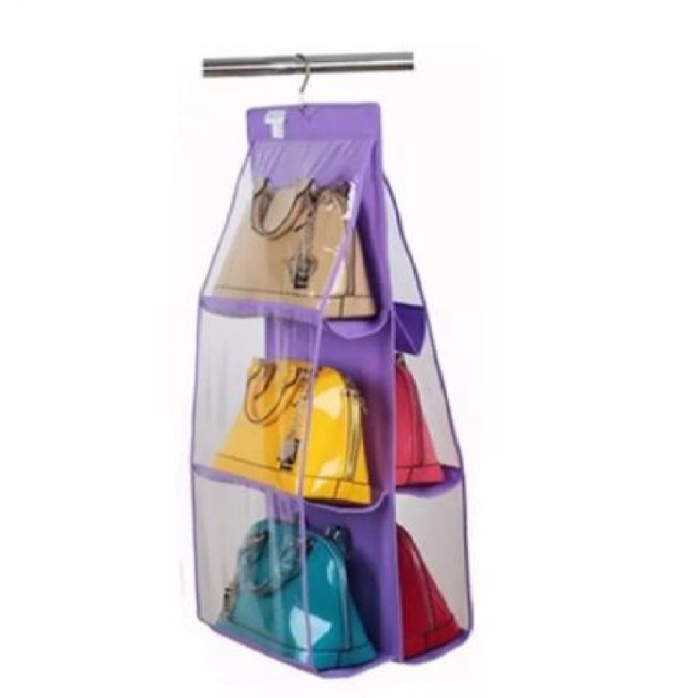 HomeExpress 6 Pocket Handbag Anti-dust Cover Clear Hanging Closet Bags Organizer Purse Holder Collection Shoes Save Space (Purple)