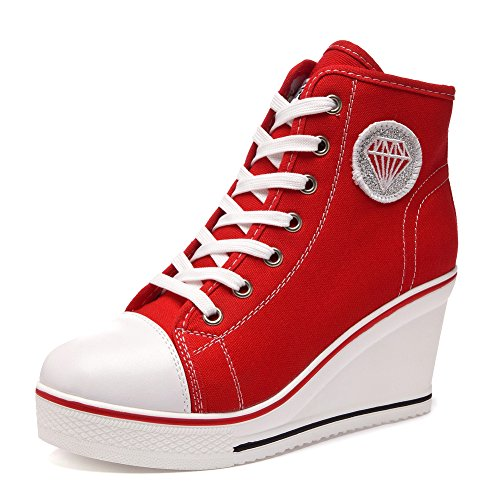 Women's Canvas Wedge Shoes High-top Platforms Side Zipper Lace up Boots 629red geQo8N7A