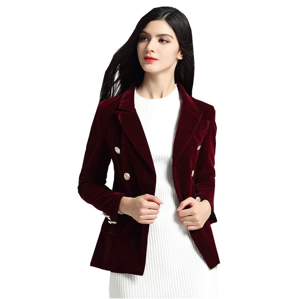 KoHuiJoo Long Sleeve Velvet Blazer Women Button Work Jacket Ladies Lapel Coat