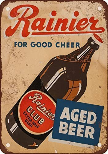Vintage Bar Home Decor FREE SHIPPING! Rainier Beer Ad Metal Sign Reproduction