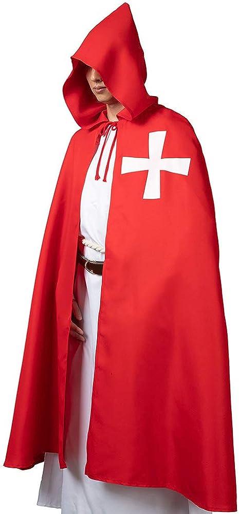 Rulercosplay Halloween Cloak Medieval Templar Knight Cape Black or White Hoodie Cosplay Costume