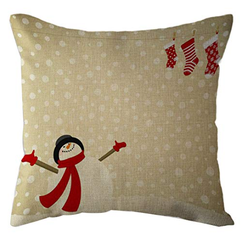 FRCOLT Merry Christmas Reindeer Snowman Little Girl Sofa Cushion Square Throw Pillow Festive Pillowcase Home Decor (C)