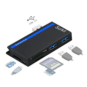 Opluz Adaptador USB3.0 HUB con Lector de Tarjetas SD/Micro SD para Microsoft Surface Pro 3 (12.3