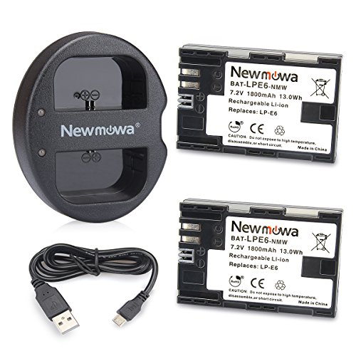 LP E6 LP E6N Newmowa Battery (2 pack) and Dual USB Charger for Canon LP-E6, LP-E6N and Canon EOS 5D Mark IV,EOS 5D Mark III,EOS 5D Mark II,EOS 6D,EOS 7D,EOS 7D Mark II,EOS 60D,EOS 70D,EOS 80D,XC10 by Newmowa