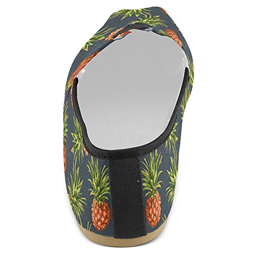 Interestprint Womens Loafers Klassiska Avslappnade Duk Slip På Mode Skor Gymnastikskor Lägenheter Ananas Frukt Multi 10