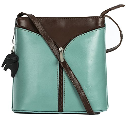 (LIATALIA Mini Italian Leather Cross-Body Shoulder Bag with a Branded Protective Storage Bag and Charm - ALICE [Green [Sea] - Brown Trim])