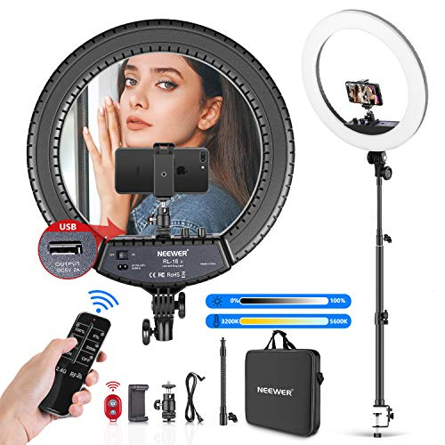 Neewer 18-inch LED Ring Light with Tabletop Light Stand and 2.4G Wireless Remote, 55W 3200K-5500K Ringlight with Soft Tube/Phone Holder/Ball Head for Vlog/Selfie/Video Shooting, Support USB Charge