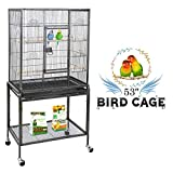ZENY Bird Cage with Stand Wrought Iron Construction 53-Inch Pet Bird Cage Play Top Parrot Cockatiel Cockatoo Parakeet Finches Birdcage Larger Image