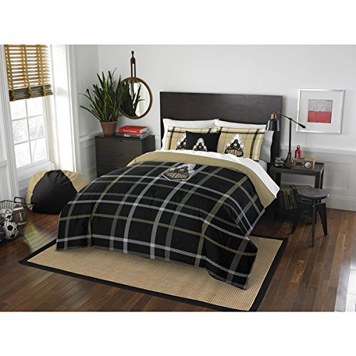 3pc NCAA Purdue Boilermakers West Lafayette Full Comforter Set, College Football Themed, Polyester, Black, Team Spirit, Team Logo, Sports Patterned Bedding, Purdue Merchandise - Lafayette Comforter Set