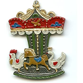 Amazon.com: Carousel German Pewter Christmas Tree Ornament ...