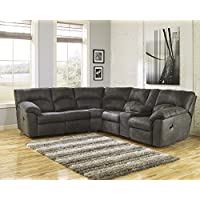 Tambo Contemporary Pewter Microfiber Reclining Sectional Sofa