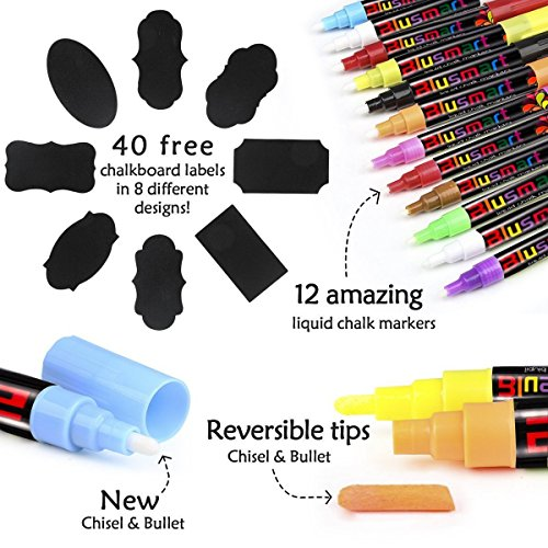 Chalk Markers, Blusmart 12 pack Colorful Erasable Glass Window Pens with 40 Chalkboard Labels, Reversible Tips 6mm+3mm, Children Friendly by Blusmart (Image #2)