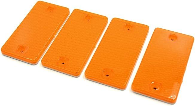 uxcell 4Pcs Plastic Round Self-adhesive Reflective Warning Plate Reflectors Yellow