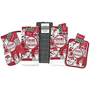 Christmas Gnomes for The Holiday Kitchen Towel Pot Holder Set, Red White Grey, 5 Piece