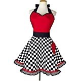 Vintage Aprons for Women Girls,Retro Cute Red Apron Extra-long Ties Kitchen Cooking Apron for Baking Gardening Apron Dress